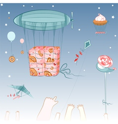Flying Sweets and Children vector image