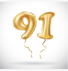 golden number 91 ninety one metallic balloon vector image