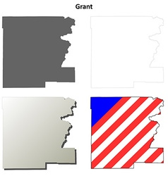 Grant map icon set vector