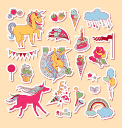 Hand drawn holiday stickers with rainbow unicorn vector