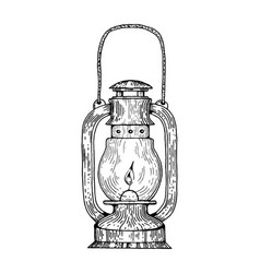 kerosene lamp engraving style vector image vector image