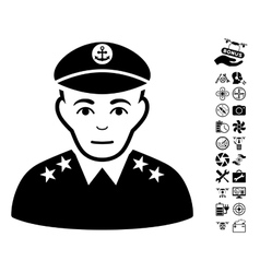 Military captain icon with flying drone tools vector