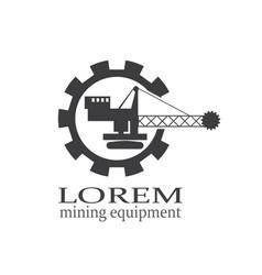 Mining or construction machine logo vector