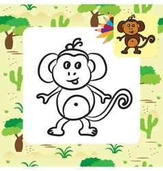 monkey coloring page vector image