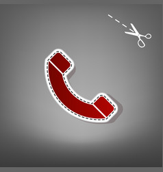Phone sign red icon with for vector