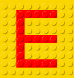 red letter e in yellow plastic construction kit vector image