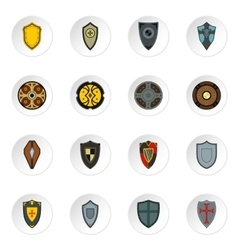 shield icons set flat style vector image