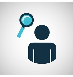 Silhouette blue man search look design icon vector