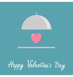 Silver platter cloche and pink heart flat design vector