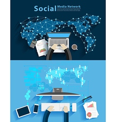 Social media network business man working vector