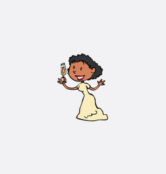 toasting bride happy isolated character vector image vector image