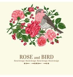 Vintage wedding card with bird vector