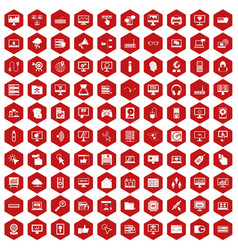 100 computer icons hexagon red vector