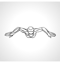 Breaststroke swimmer female outline silhouette vector