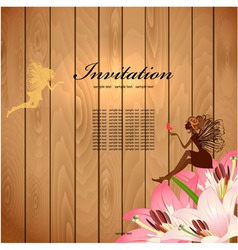 Retro fairy invitation card vector image