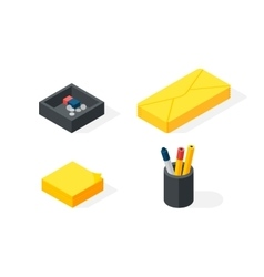 Stationery isometric icons vector image