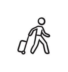 Man with suitcase sketch icon vector