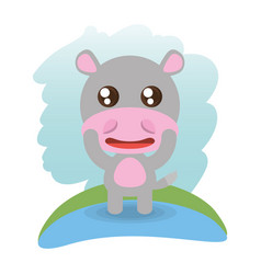 Cute hippopotamus animal wildlife vector