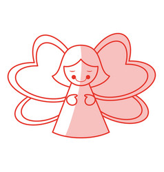 Red shading silhouette of decorative angel vector
