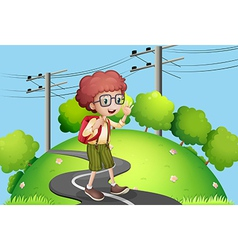 A young boy walking at the street with electric vector