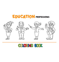 Education professions coloring book vector