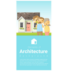 Happy family standing outside their house vector