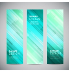 Blue low poly vertical banners set with vector image