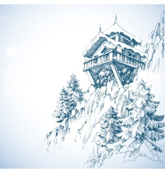 Mountain hut pine tree forest winter landscape vector