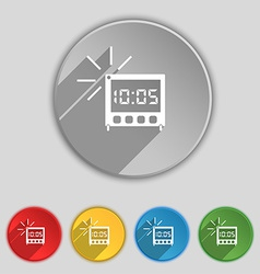 Digital alarm clock icon sign symbol on five flat vector