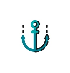 Color line icon for flat design anchor vector