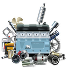 Engine with Car Spares vector image