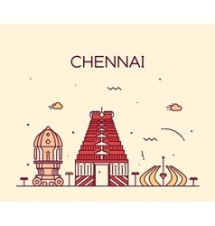 Chennai skyline trendy linear vector