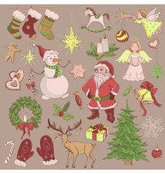 Hand drawn christmas and new year collection vector