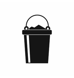 Bucket full of garbage icon simple style vector