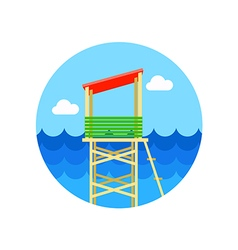 Lifeguard tower icon summer vacation vector