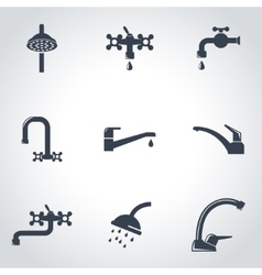 Black water tap icon set vector