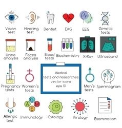 Medical tests and researches icons vector