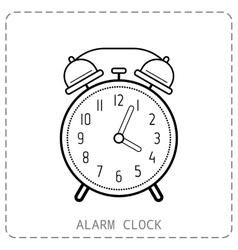 Alarm clock flat linear icon clock isolated on vector