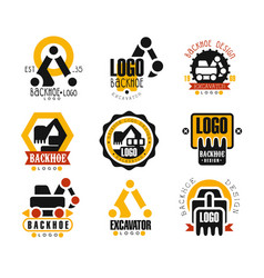 Backhoe and excavator logo design set vector
