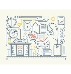 Bank services - line design composition vector