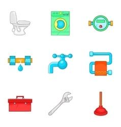 Bathroom icons set cartoon style vector