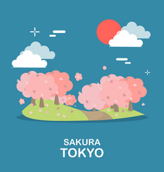 Beautiful sakura tree sightseeing in tokyo design vector