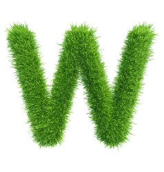 Capital letter w from grass on white vector