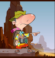 cartoon male tourist points a finger vector image vector image