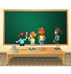 Children paintinging the blackboard in the room vector