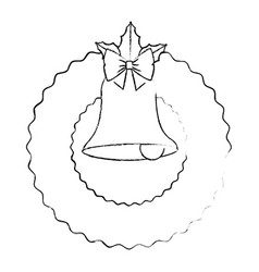 christmas crown with bell decorative icon vector image