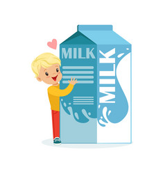 cute blonde little boy and funny milk carton box vector image vector image