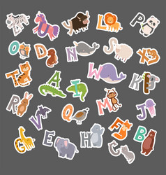 Cute zoo alphabet with cartoon animals funny vector