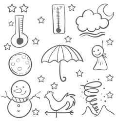 Doodle of weather set vector