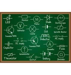 Electrical circuit symbols on chalkboard vector image